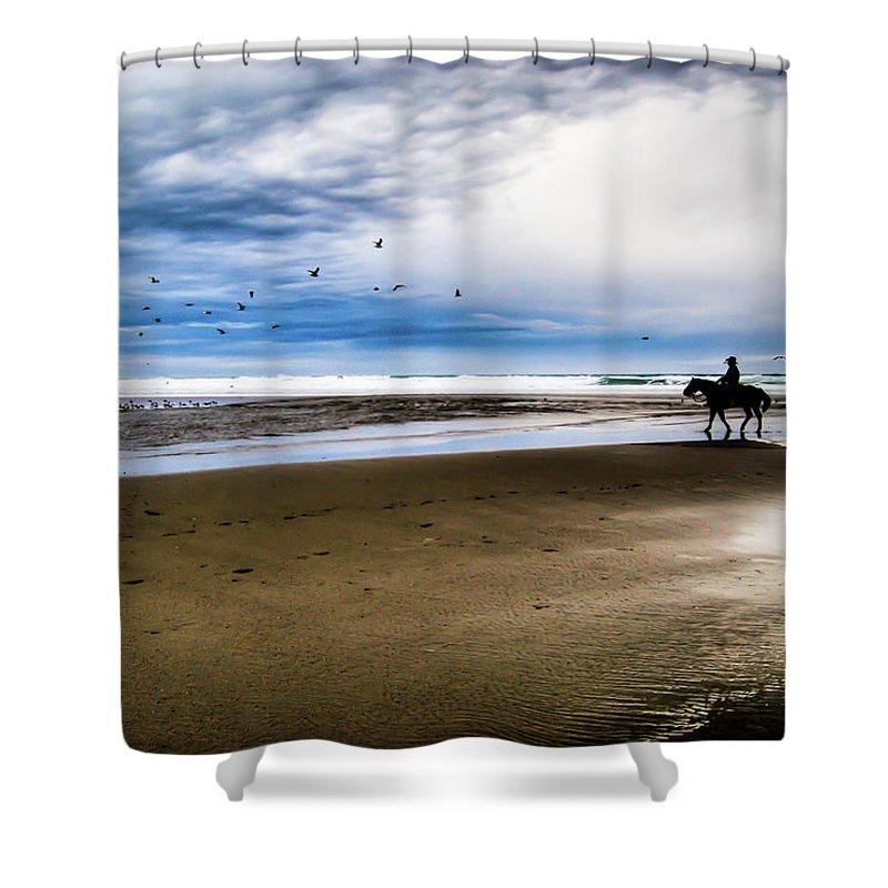 Horse Shower Curtain featuring the photograph Cowboy Riding Horse On Beach by D. R. Busch