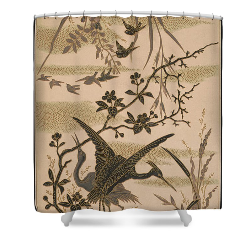 Crane Shower Curtain featuring the pyrography Cranes And Birds At Pond 1880 by Daniel Hagerman