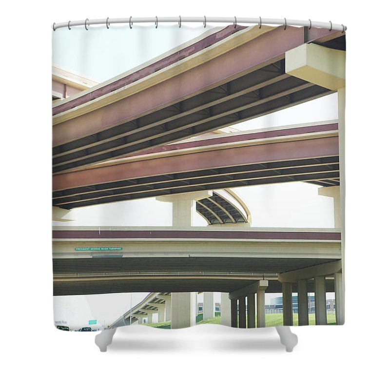 Crisscross Shower Curtain featuring the photograph Crisscrossing Freeway Overpasses by Siri Stafford