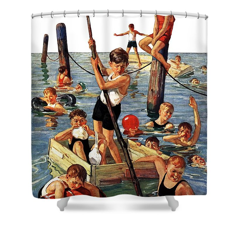 Boats Shower Curtain featuring the drawing Crowd Of Boys Swimming by Eugene Iverd