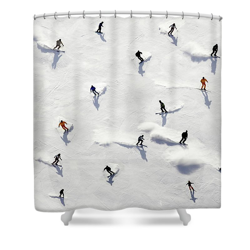 Skiing Shower Curtain featuring the photograph Crowded Holiday by Mistikas