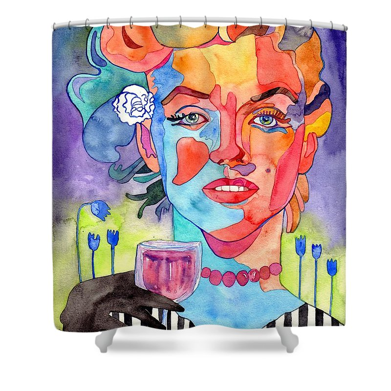 Marilyn Monroe Shower Curtain featuring the painting Crying Marilyn by Suzann Sines