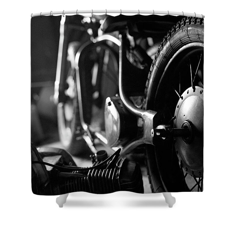 Engine Shower Curtain featuring the photograph Custom Motorcycle by Alexey Bubryak
