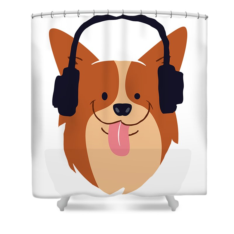 Cartoon Shower Curtain featuring the digital art Cute Dog With Headphones by Passion Loft