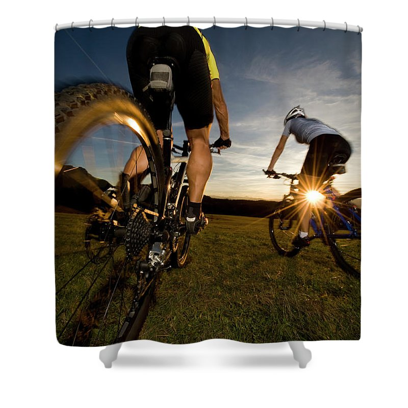 Blurred Motion Shower Curtain featuring the photograph Cycling Adventure by Gorfer