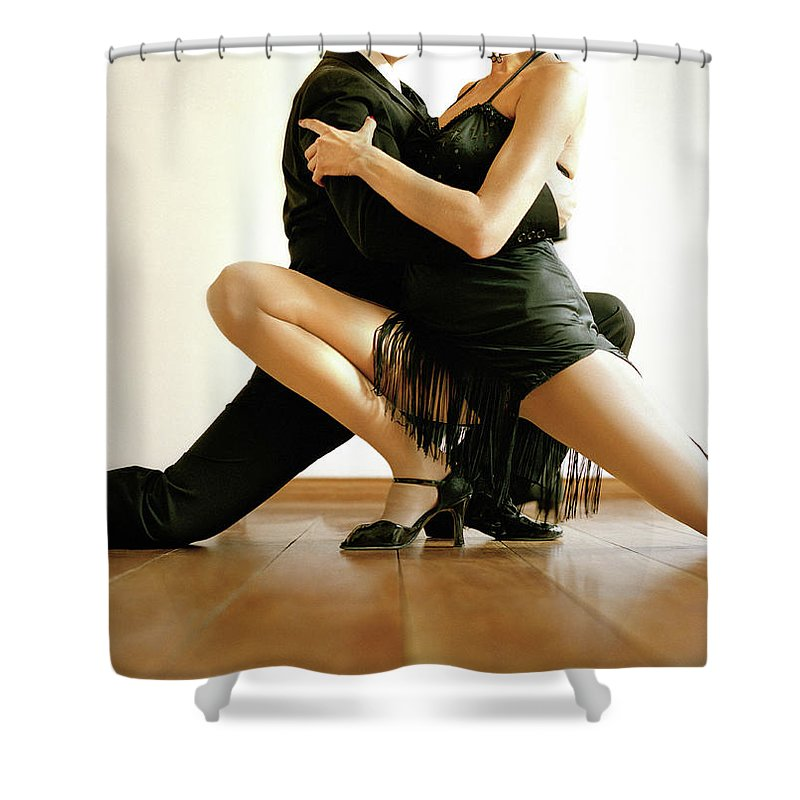 Heterosexual Couple Shower Curtain featuring the photograph Dancers In Tango Position, Low Section by David Sacks