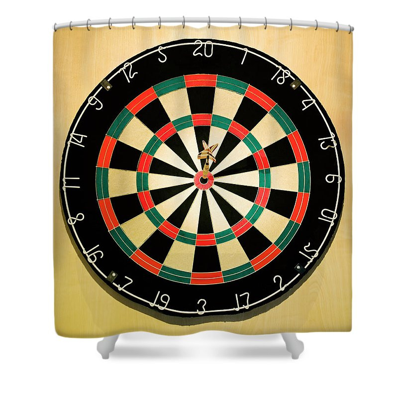 Expertise Shower Curtain featuring the photograph Dart In Bulls Eye On Dart Board by Fuse
