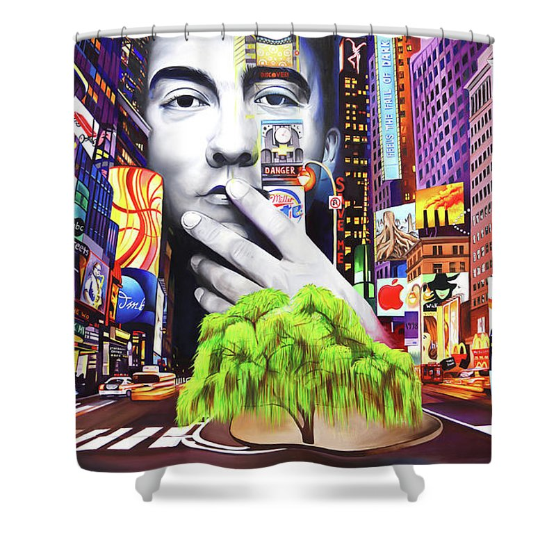 The Dave Matthews Band Shower Curtain featuring the painting Dave Matthews Dreaming Tree by Joshua Morton