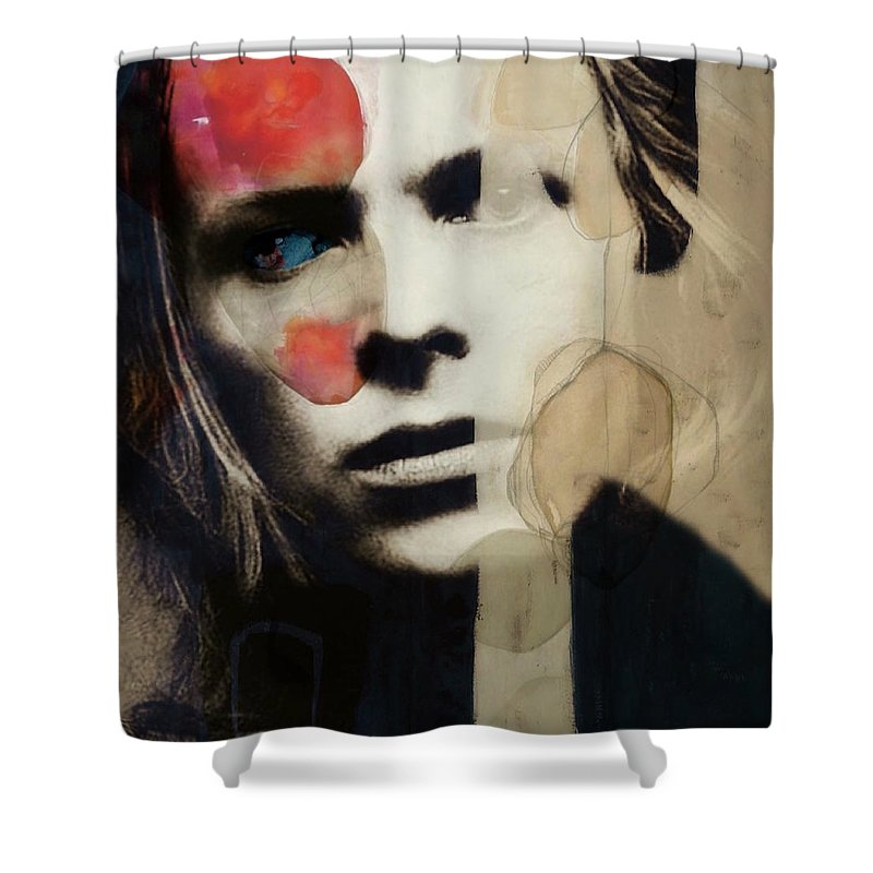 David Bowie Shower Curtain featuring the mixed media David Bowie - This Is Not America by Paul Lovering