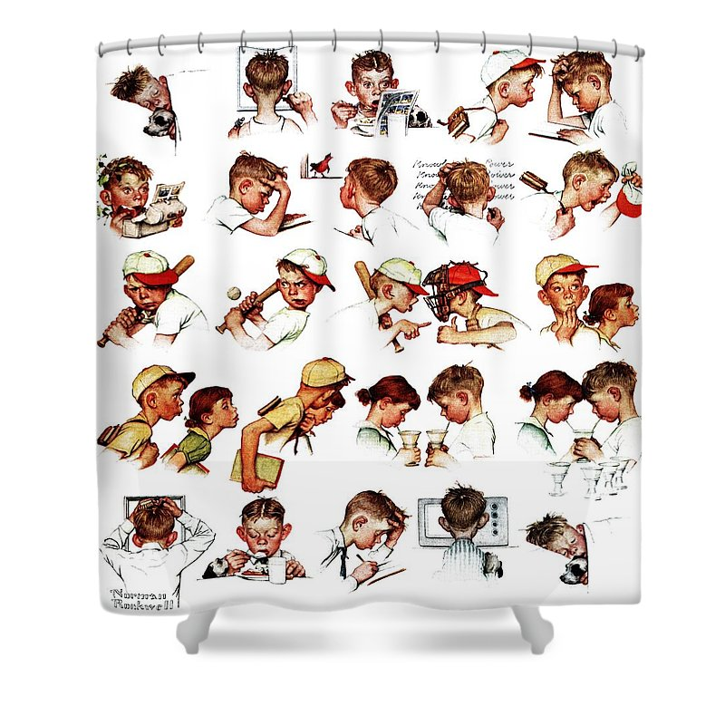 Baseball Shower Curtain featuring the drawing Day In The Life Of A Boy by Norman Rockwell