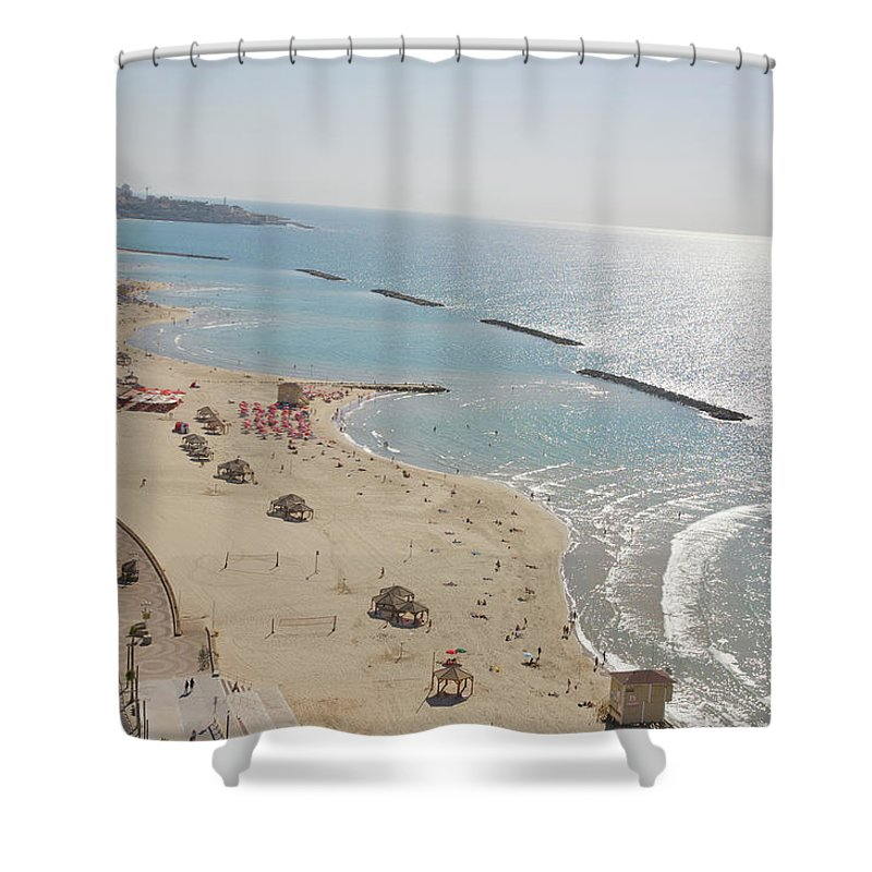 Tranquility Shower Curtain featuring the photograph Day View Of Tel Aviv Promenade And Beach by Barry Winiker