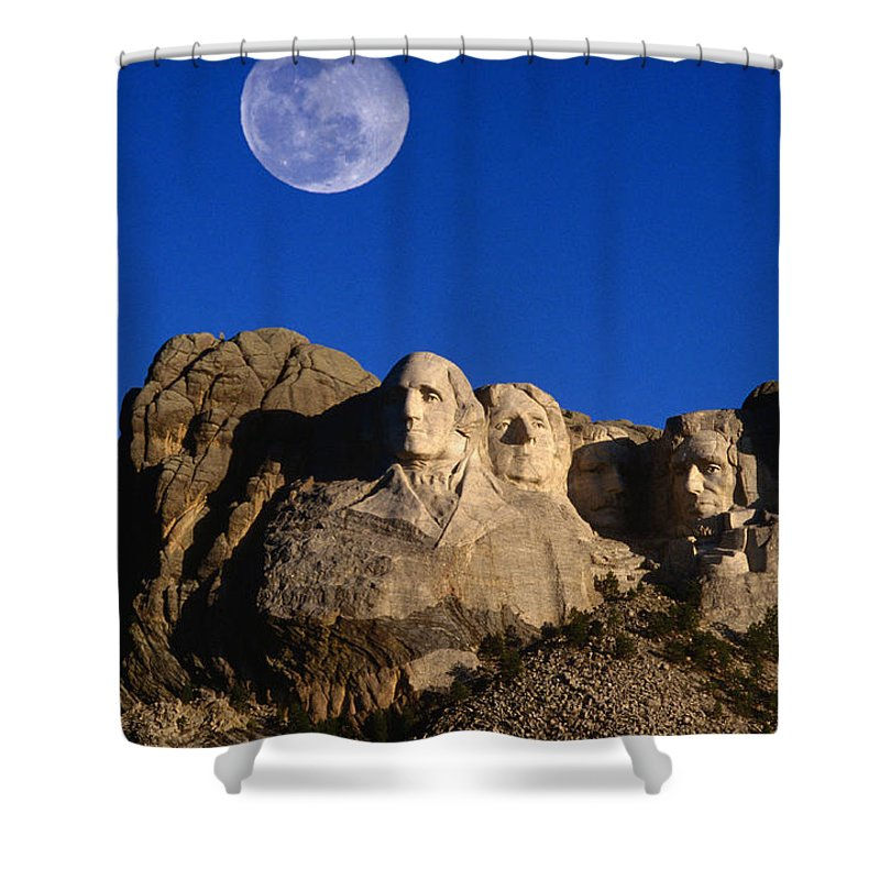 Mt Rushmore National Monument Shower Curtain featuring the photograph Daytime Moon Above Presidential Faces by Mark Newman