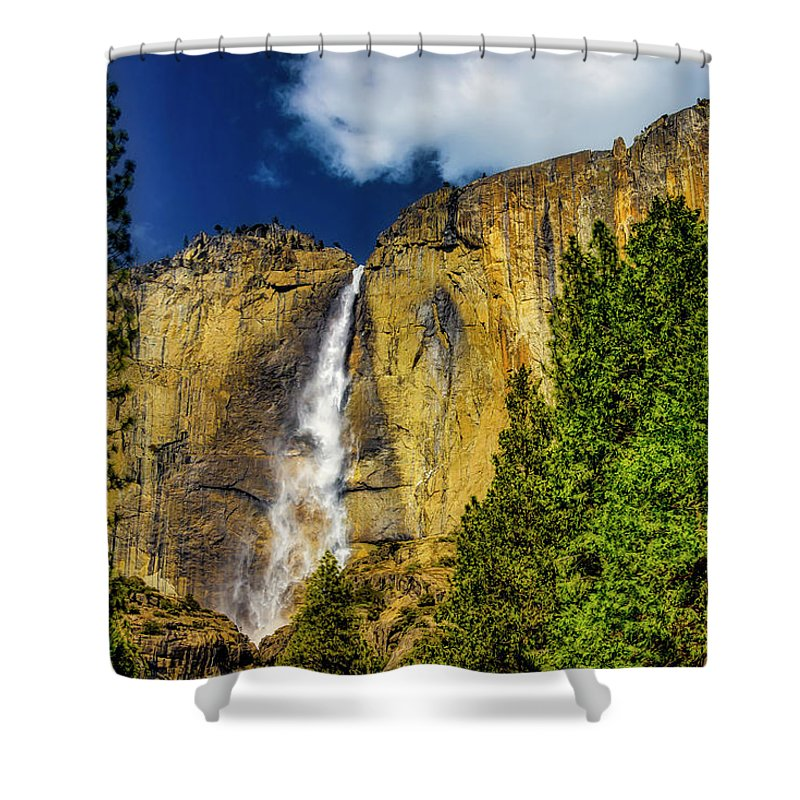 Upper Shower Curtain featuring the photograph Dazzling Yosemite Falls by Garry Gay