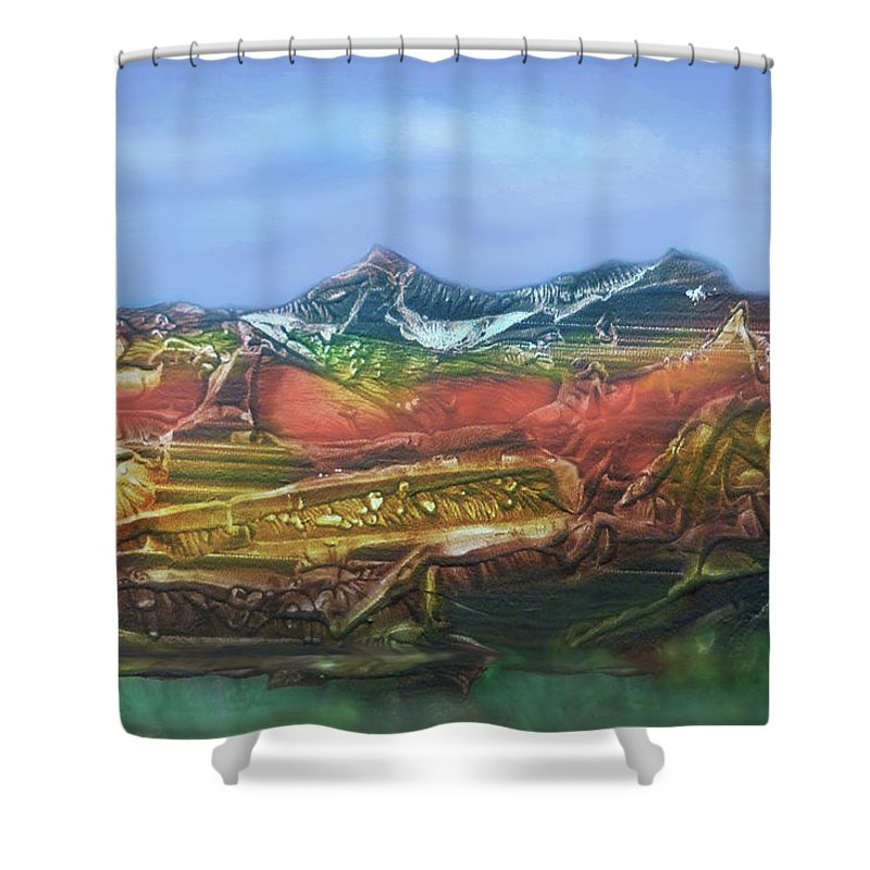 Otto Rapp Shower Curtain featuring the digital art Decalcomania 2019-05-21 by Otto Rapp