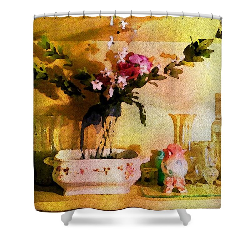 Potted Purple Flowers Shower Curtain featuring the painting Delicate Flowers by Joan Reese