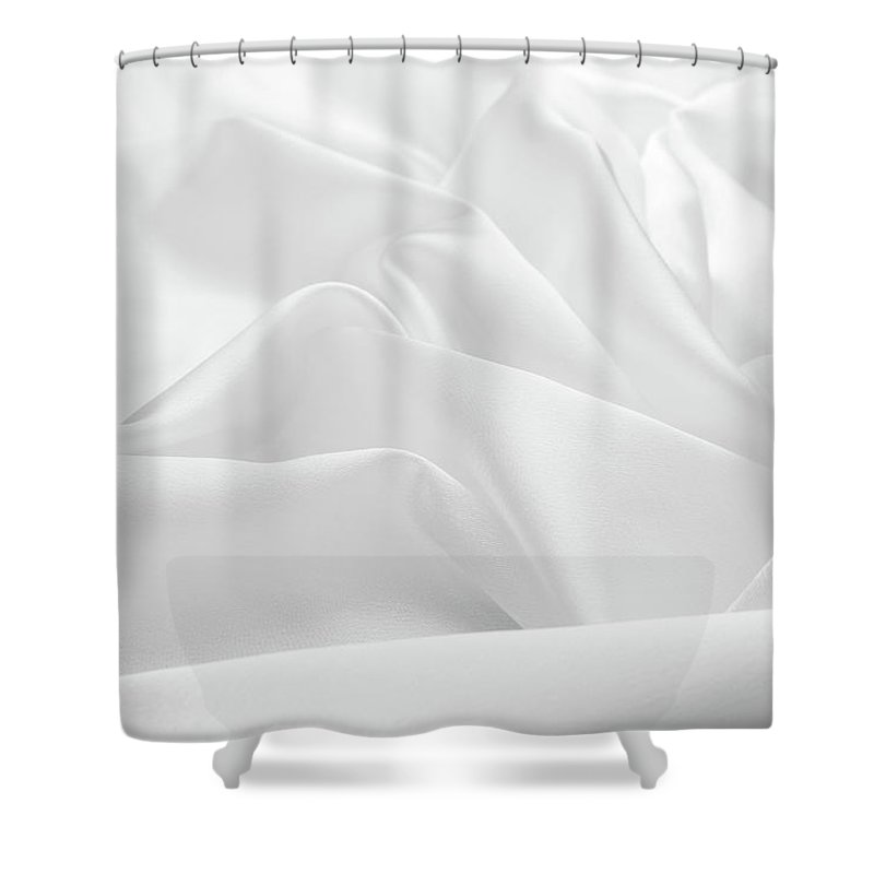 Curve Shower Curtain featuring the photograph Delicate White Satin Silk Background by Narcisa