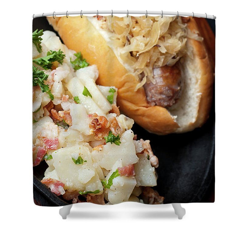German Food Shower Curtain featuring the photograph Delicious German Potato Salad And Bread by Rudisill