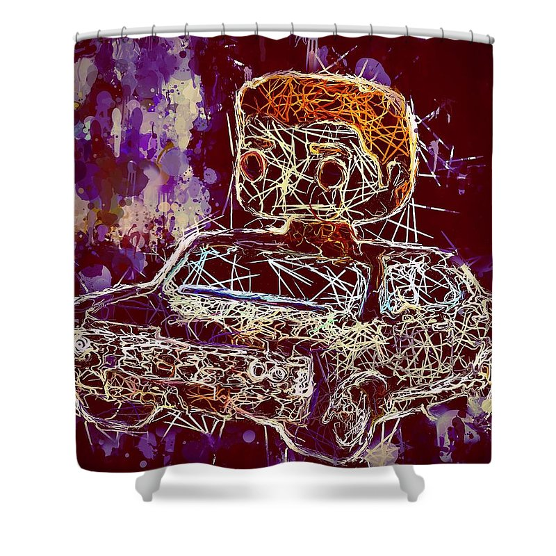 Funko Pop Shower Curtain featuring the mixed media Dean Winchester Car Supernatural Pop by Al Matra