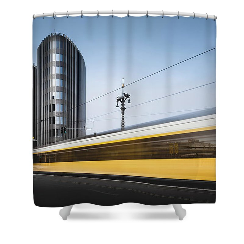 Contemporary Shower Curtain featuring the photograph Der Gelbe Blitz, Berlin, Germany, 2015 by Ronnie Behnert