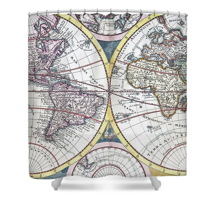 Engraving Shower Curtain featuring the digital art Detail Copper Engraving Of World Map by Grafissimo