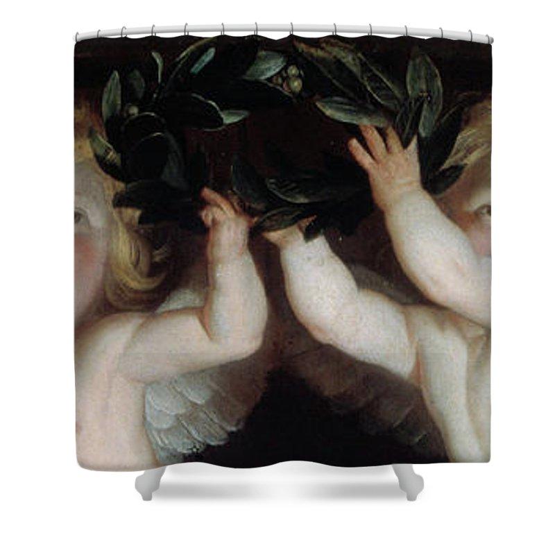 Gerrit Van Honthorst Shower Curtain featuring the painting Detail Of Angels by Gerrit Van Honthorst