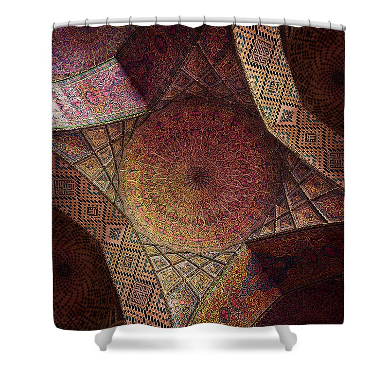 East Shower Curtain featuring the photograph Detail Of The Ceiling Tilework by Len4foto