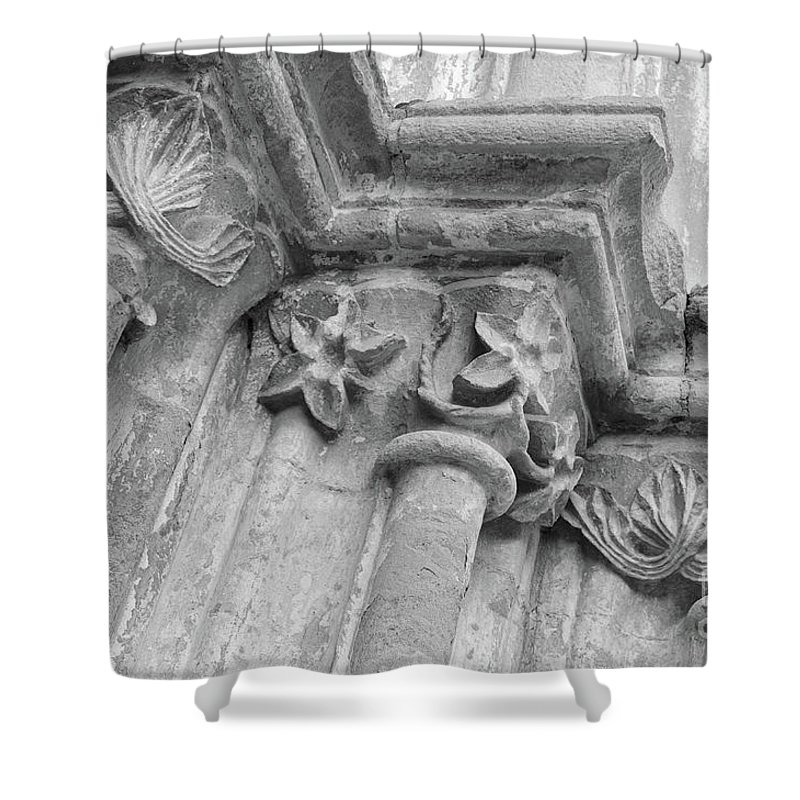 Igreja De Santa Maria Do Castelo Shower Curtain featuring the photograph Detail Of The Medieval Portal Of Saint Marys Church In Tavira. Portugal by Angelo DeVal