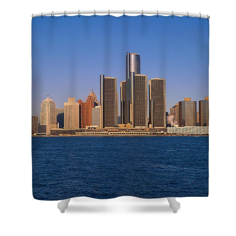 Detroit Shower Curtain featuring the photograph Detroit Buildings On The Water by Visionsofamerica/joe Sohm