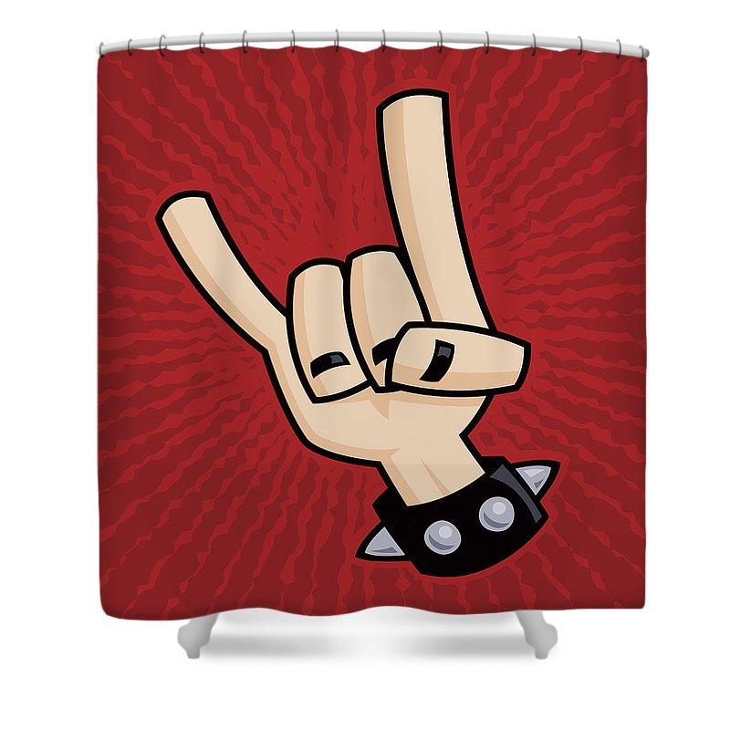 Rock Shower Curtain featuring the digital art Devil Horns by John Schwegel