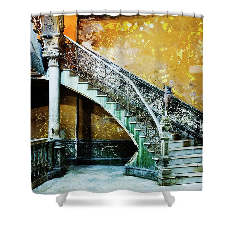 Majestic Shower Curtain featuring the photograph Dilapidated, Ornate Stairway by Pixelchrome Inc
