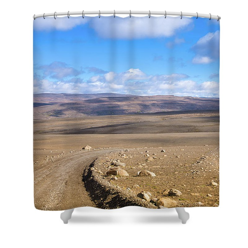 Scenics Shower Curtain featuring the photograph Dirt Road Sprengisandur Central Iceland by Mlenny