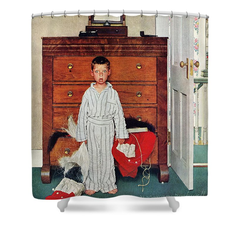 Bedrooms Shower Curtain featuring the drawing Discovery by Norman Rockwell
