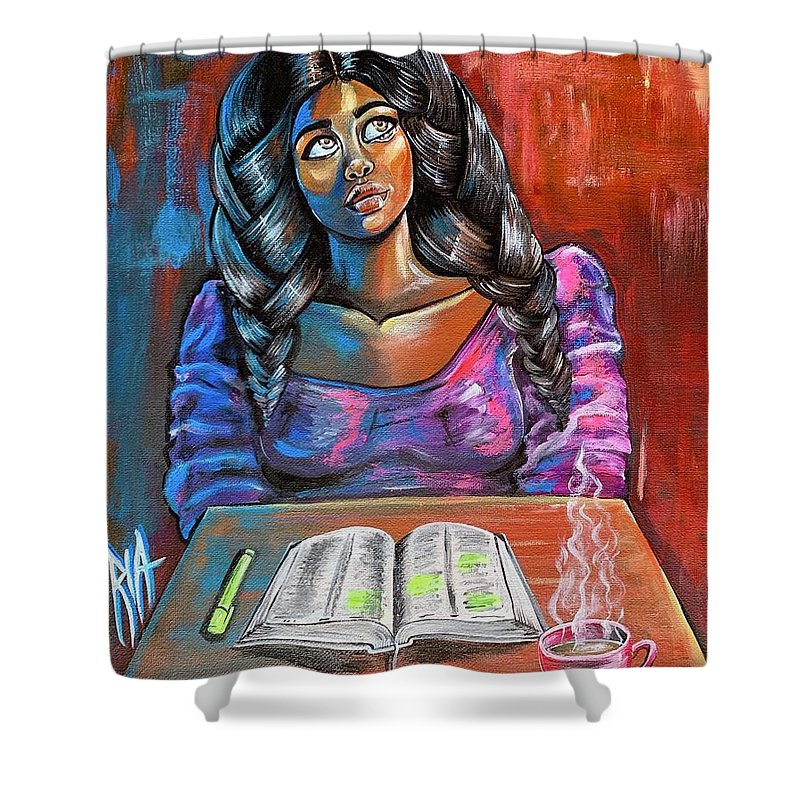Prayer Shower Curtain featuring the painting Do I make you proud by Artist RiA