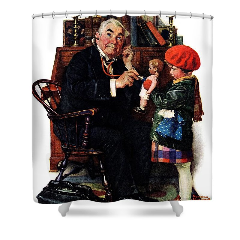 Doctors Shower Curtain featuring the drawing Doctor And The Doll by Norman Rockwell