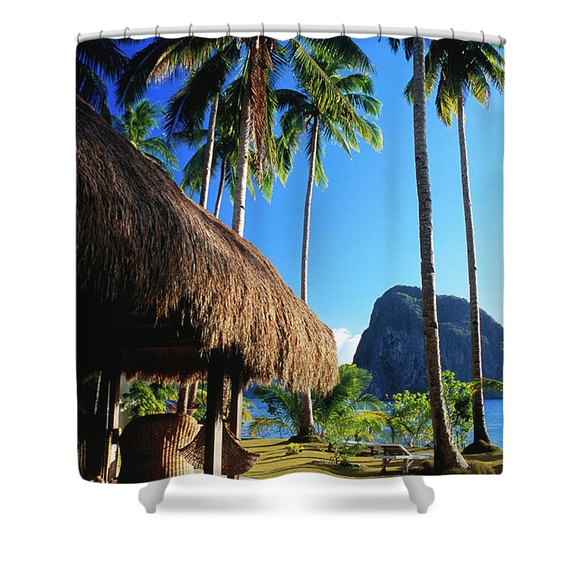 Tropical Tree Shower Curtain featuring the photograph Dolarog Beach Resort With Inabuyatan by Dallas Stribley