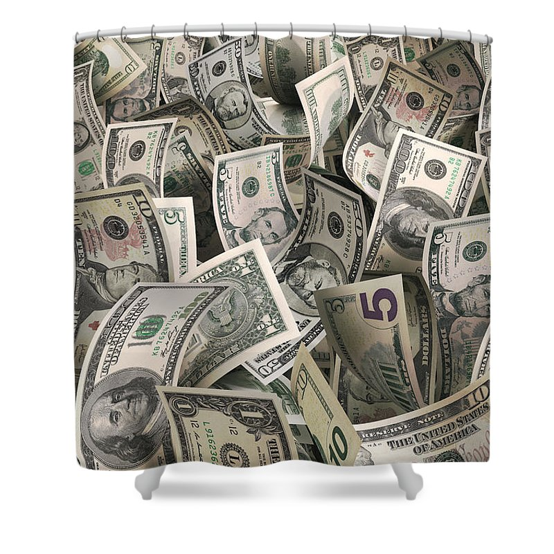 Five Dollar Bill Shower Curtain featuring the photograph Dollars by Ktsfotos