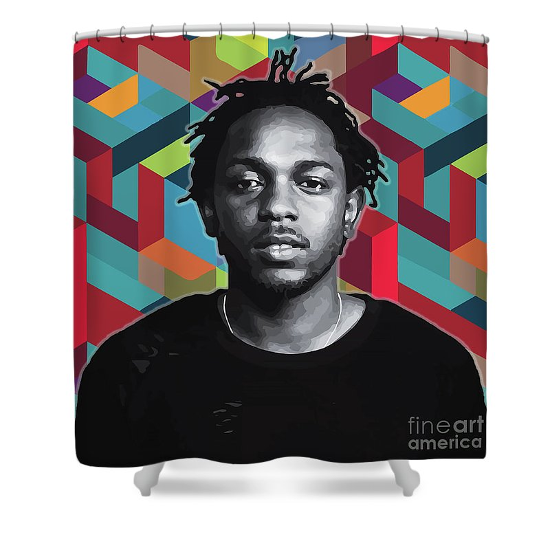 Kendrick Shower Curtain featuring the painting Don't Kill My Vibe Kendrick by Carla B