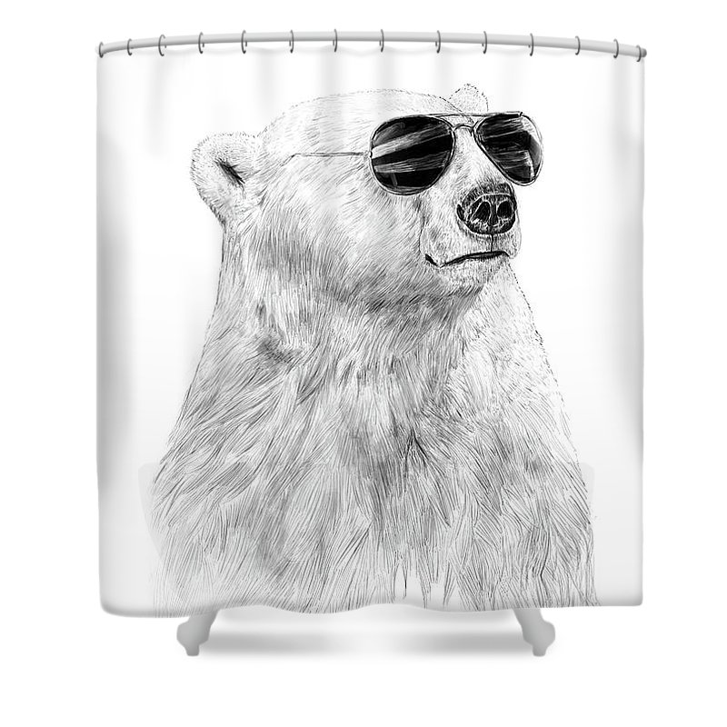 Polar Bear Shower Curtain featuring the drawing Don't Let The Sun Go Down by Balazs Solti
