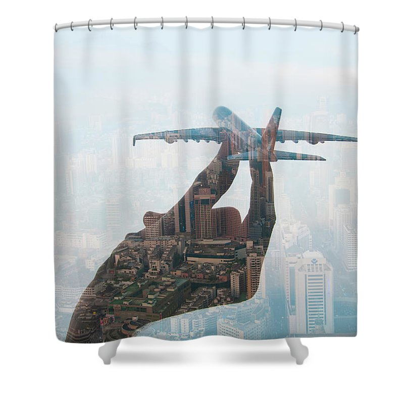 People Shower Curtain featuring the photograph Double Exposure Of Hand Holding Model by Jasper James