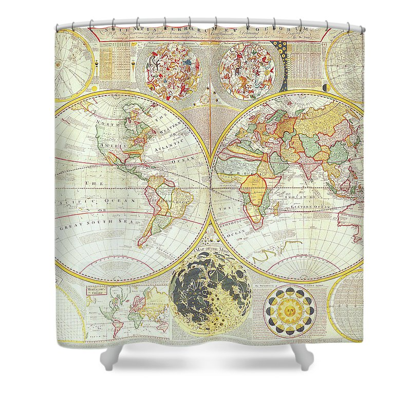 Ancient Shower Curtain featuring the digital art Double Hemisphere World Map by The Map House Of London