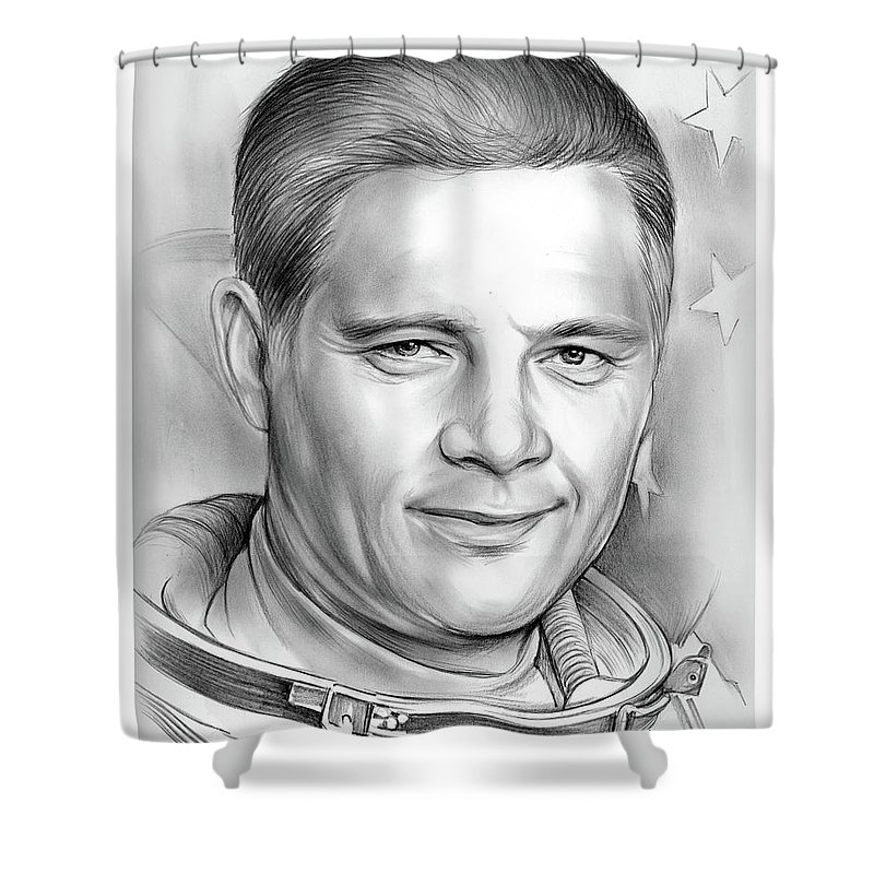 Cousin Shower Curtain featuring the drawing Doug Wheelock by Greg Joens