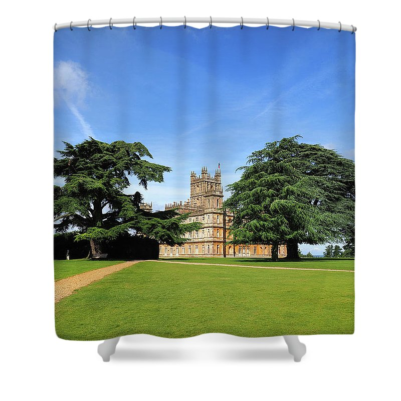 Highclere Castle Shower Curtain featuring the photograph Downton Abbey Highclere Castle by Joe Schofield