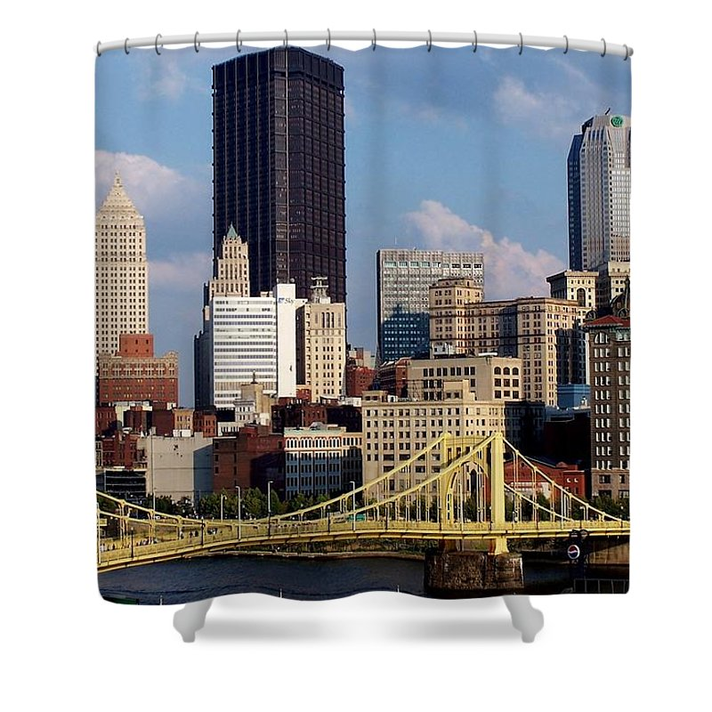 Downtown District Shower Curtain featuring the photograph Downtown Pittsburgh Panorama From Pnc by Photo By Paul D. Toth