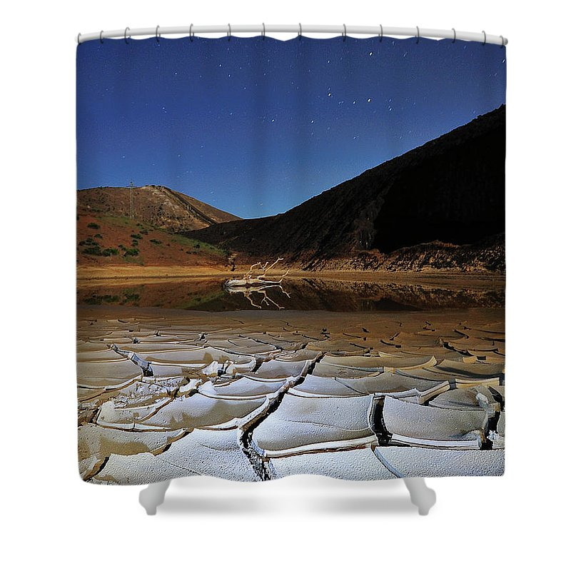 Tranquility Shower Curtain featuring the photograph Dry Landscape With Stars And Mountains by Davidexuvia