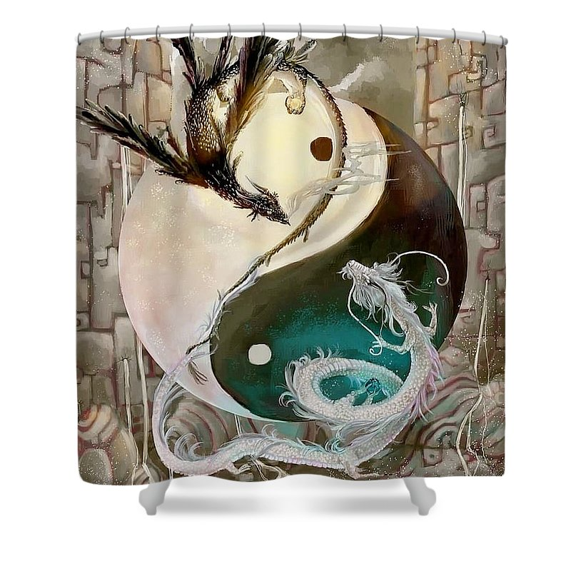 """ As We Have Said Shower Curtain featuring the digital art Dual Destiny by Bright Lights"