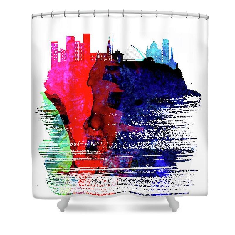 Dublin Shower Curtain featuring the mixed media Dublin Skyline Brush Stroke Watercolor  by Naxart Studio