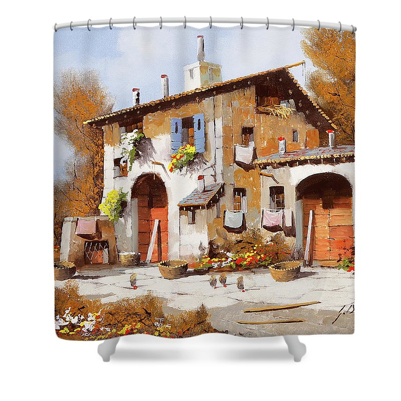 Red Doors Shower Curtain featuring the painting Due Portoni Rossi by Guido Borelli
