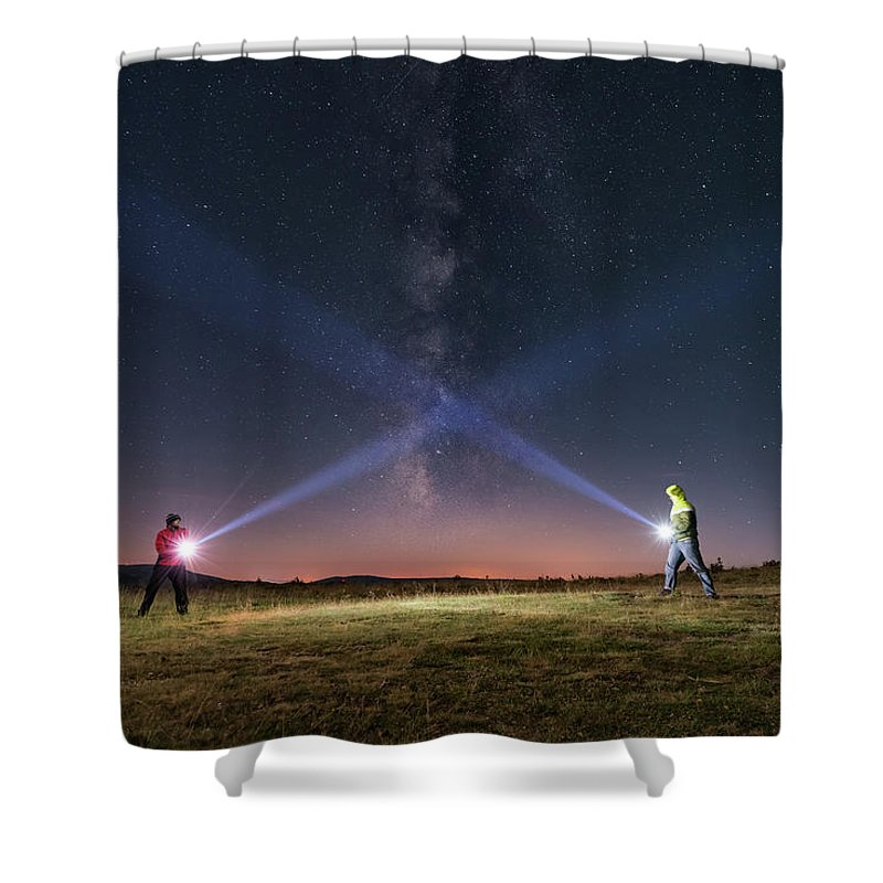 People Shower Curtain featuring the photograph Duel Of Light by Carlos Fernandez