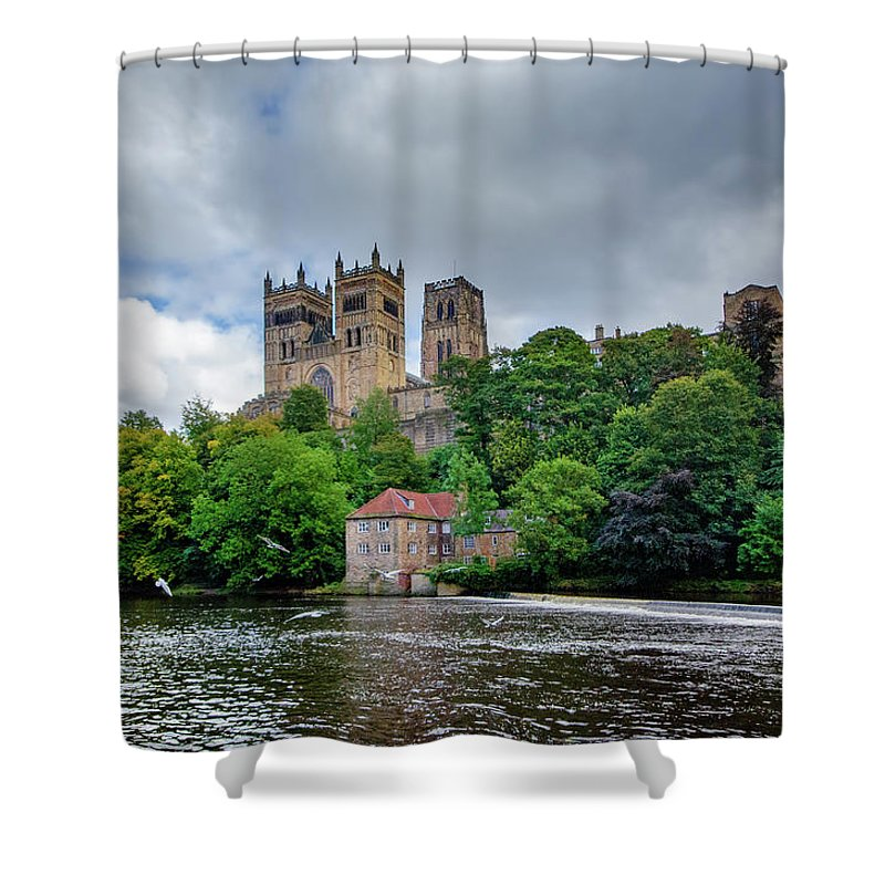 Durham Cathedral Shower Curtain featuring the mixed media Durham Cathedral by Smart Aviation