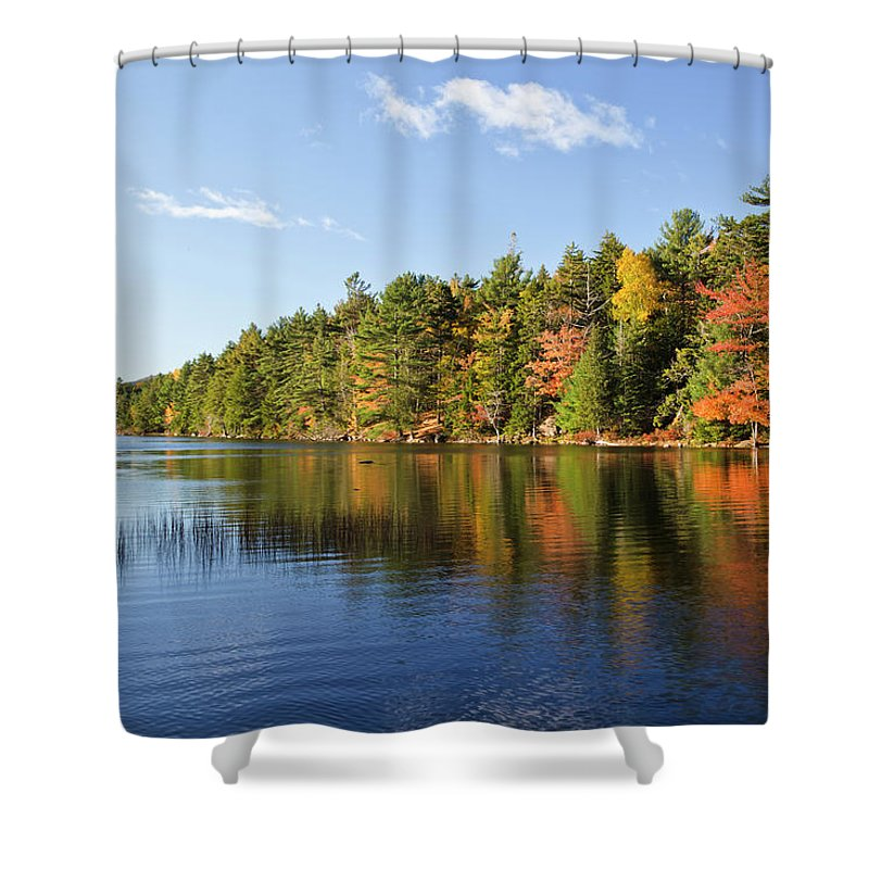 Scenics Shower Curtain featuring the photograph Eagle Lake Autumn Morning, Acadia by Picturelake